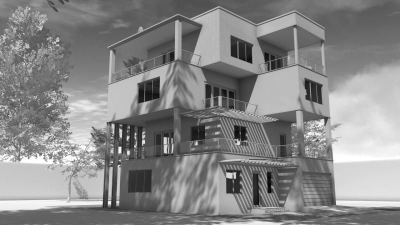 modello 3d ambient occlusion casa unifamiliare