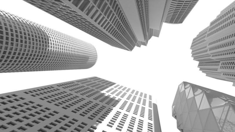 modello 3d ambient occlusion grattacieli
