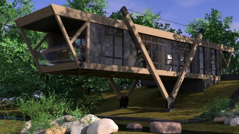 rendering esterno casa legno vetro ferro