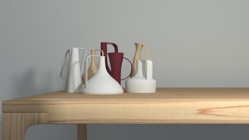 rendering interno tavolo vasi